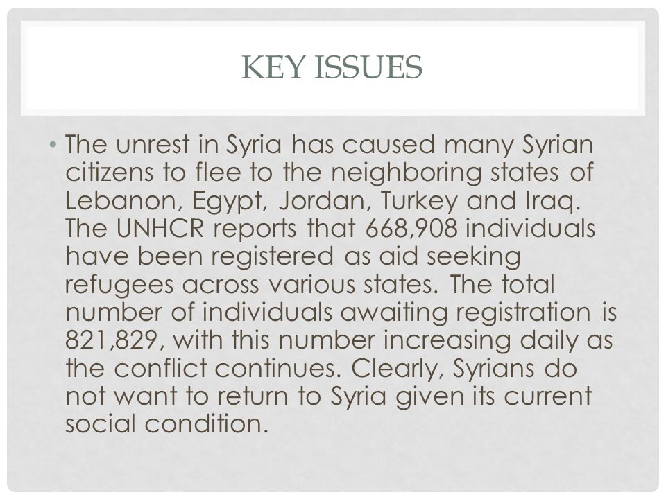 KEY ISSUES The unrest in Syria has caused many Syrian citizens to flee to the neighboring states of Lebanon, Egypt, Jordan, Turkey and Iraq.