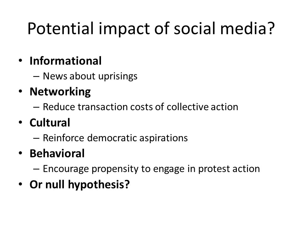Potential impact of social media.