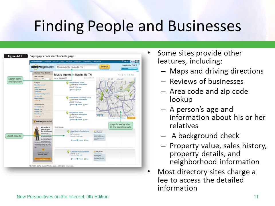 New Perspectives on the Internet, 9th Edition Finding People and Businesses Some sites provide other features, including: – Maps and driving direction