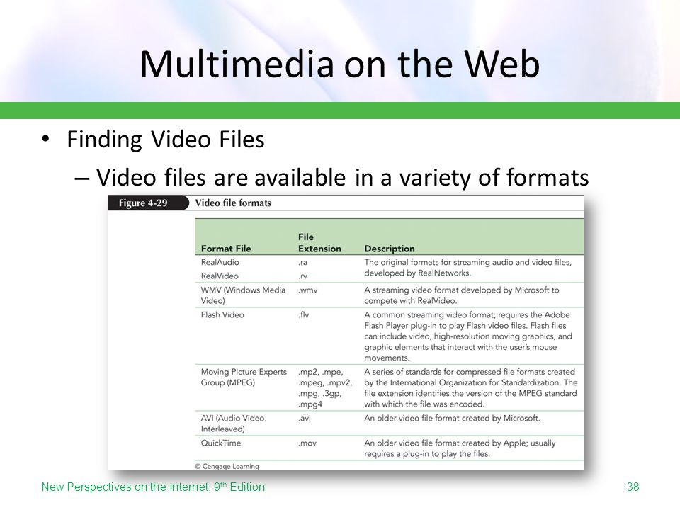 Multimedia on the Web Finding Video Files – Video files are available in a variety of formats New Perspectives on the Internet, 9 th Edition38