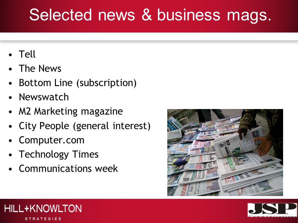 Selected news & business mags.