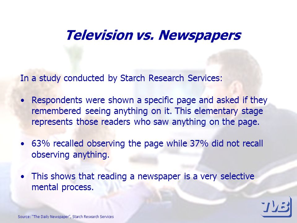 Television vs. Newspapers In a study conducted by Starch Research Services: Respondents were shown a specific page and asked if they remembered seeing