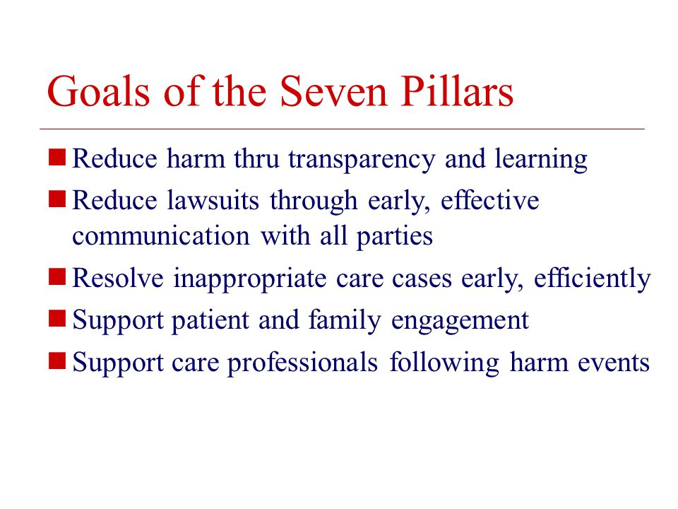 © 2008 The Board of Trustees of the University of Illinois Goals of the Seven Pillars Reduce harm thru transparency and learning Reduce lawsuits through early, effective communication with all parties Resolve inappropriate care cases early, efficiently Support patient and family engagement Support care professionals following harm events