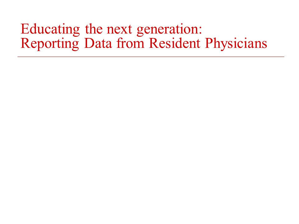 Educating the next generation: Reporting Data from Resident Physicians