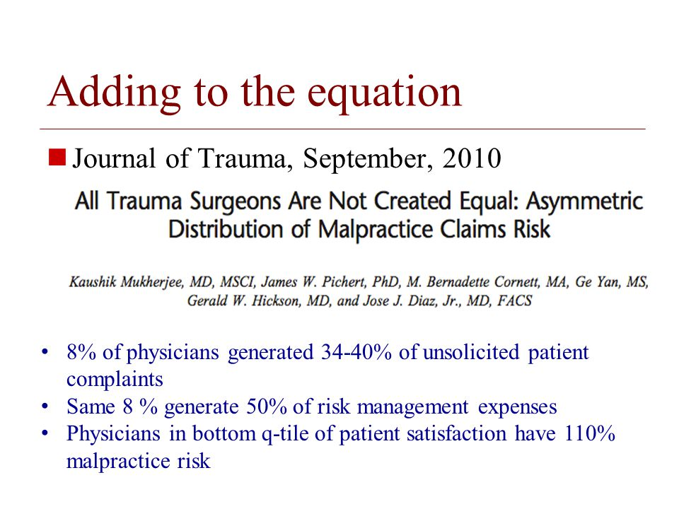 © 2008 The Board of Trustees of the University of Illinois Resident physician occurrence reporting data Journal of Graduate Medical Education, June 2010