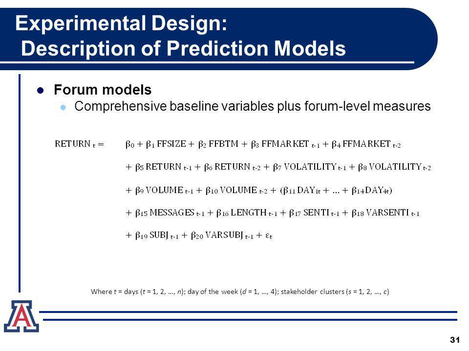 Experimental Design: Description of Prediction Models Forum models Comprehensive baseline variables plus forum-level measures 31 Where t = days (t = 1, 2, …, n); day of the week (d = 1, …, 4); stakeholder clusters (s = 1, 2, …, c)