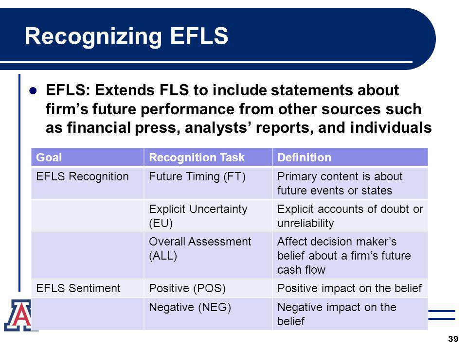 Recognizing EFLS EFLS: Extends FLS to include statements about firms future performance from other sources such as financial press, analysts reports, and individuals 39 GoalRecognition TaskDefinition EFLS RecognitionFuture Timing (FT)Primary content is about future events or states Explicit Uncertainty (EU) Explicit accounts of doubt or unreliability Overall Assessment (ALL) Affect decision makers belief about a firms future cash flow EFLS SentimentPositive (POS)Positive impact on the belief Negative (NEG)Negative impact on the belief