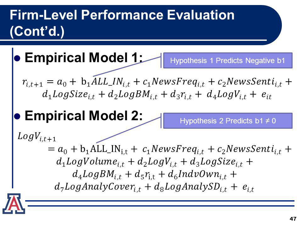Firm-Level Performance Evaluation (Contd.) Empirical Model 1: Empirical Model 2: 47 Hypothesis 1 Predicts Negative b1 Hypothesis 2 Predicts b1 0