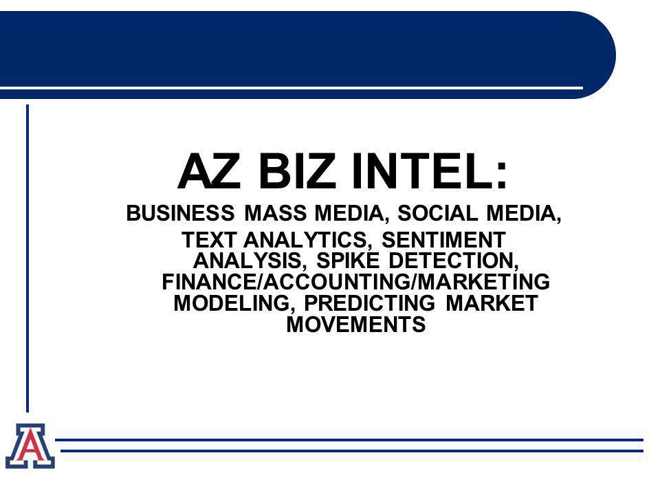 AZ BIZ INTEL: BUSINESS MASS MEDIA, SOCIAL MEDIA, TEXT ANALYTICS, SENTIMENT ANALYSIS, SPIKE DETECTION, FINANCE/ACCOUNTING/MARKETING MODELING, PREDICTING MARKET MOVEMENTS