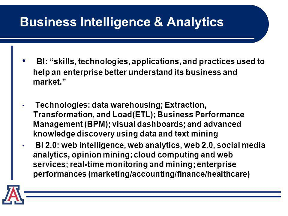 BI: skills, technologies, applications, and practices used to help an enterprise better understand its business and market. Technologies: data warehou