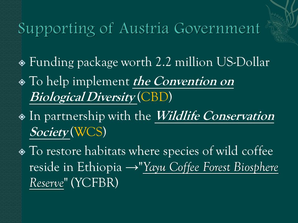 Funding package worth 2.2 million US-Dollar To help implement the Convention on Biological Diversity (CBD) In partnership with the Wildlife Conservati