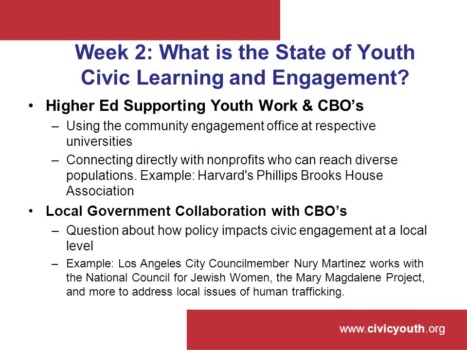 www.civicyouth.org Week 2: What is the State of Youth Civic Learning and Engagement.