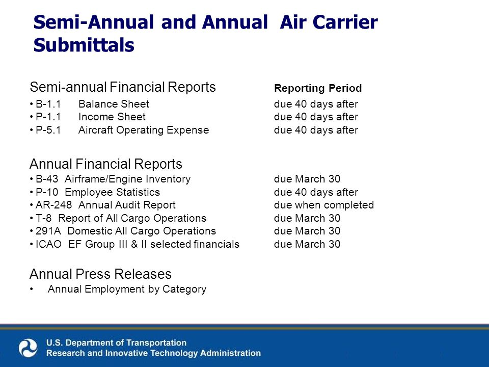 Semi-Annual and Annual Air Carrier Submittals Semi-annual Financial Reports Reporting Period B-1.1Balance Sheetdue 40 days after P-1.1Income Sheetdue