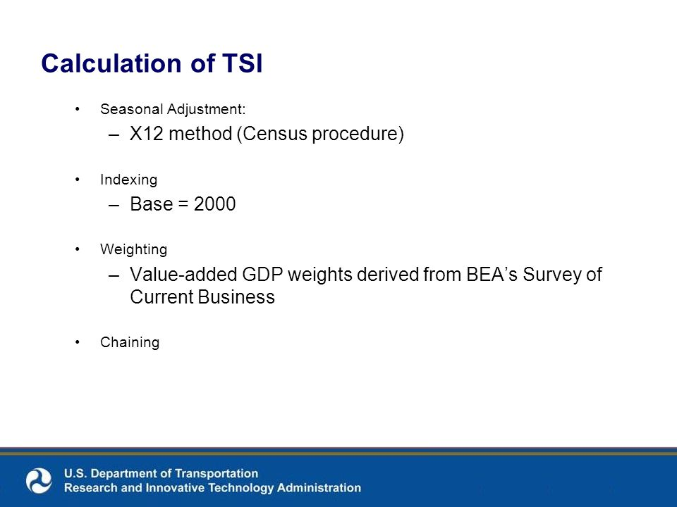 Calculation of TSI Seasonal Adjustment: –X12 method (Census procedure) Indexing –Base = 2000 Weighting –Value-added GDP weights derived from BEAs Surv