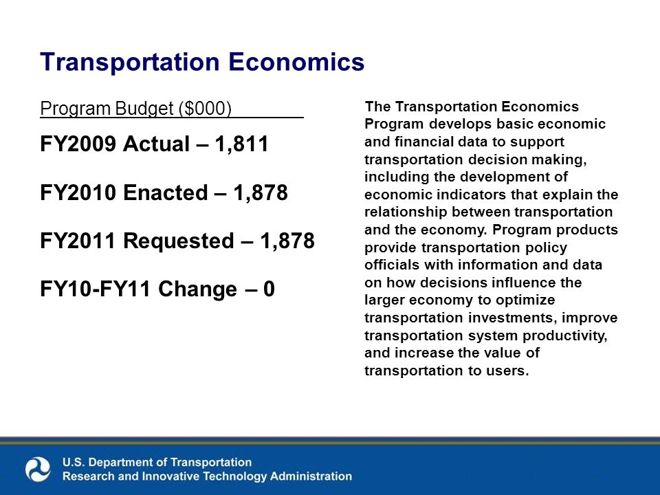 Transportation Economics Program Budget ($000) FY2009 Actual – 1,811 FY2010 Enacted – 1,878 FY2011 Requested – 1,878 FY10-FY11 Change – 0 The Transportation Economics Program develops basic economic and financial data to support transportation decision making, including the development of economic indicators that explain the relationship between transportation and the economy.
