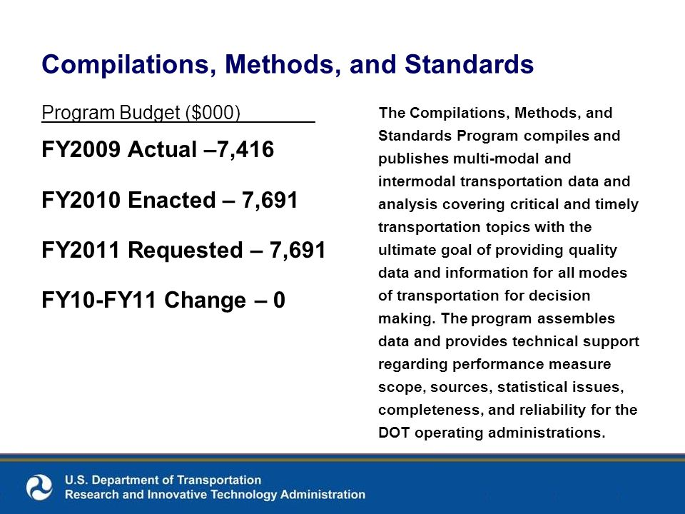 Compilations, Methods, and Standards Program Budget ($000) FY2009 Actual –7,416 FY2010 Enacted – 7,691 FY2011 Requested – 7,691 FY10-FY11 Change – 0 T