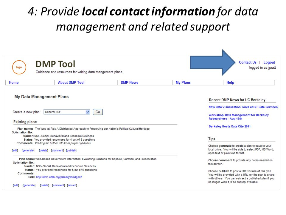 4: Provide local contact information for data management and related support
