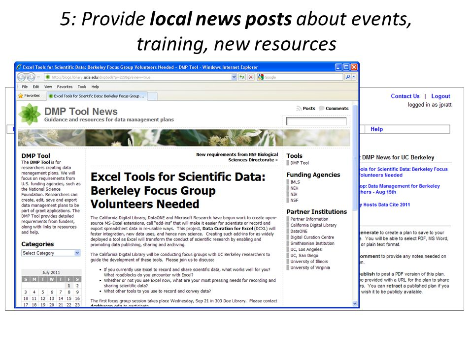 5: Provide local news posts about events, training, new resources