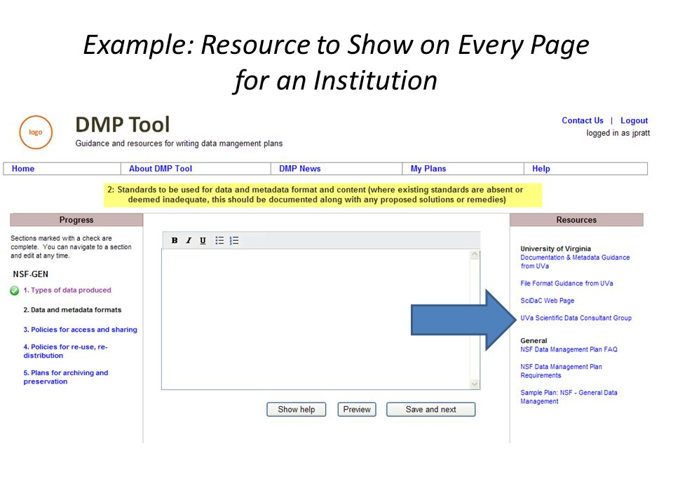 Example: Resource to Show on Every Page for an Institution