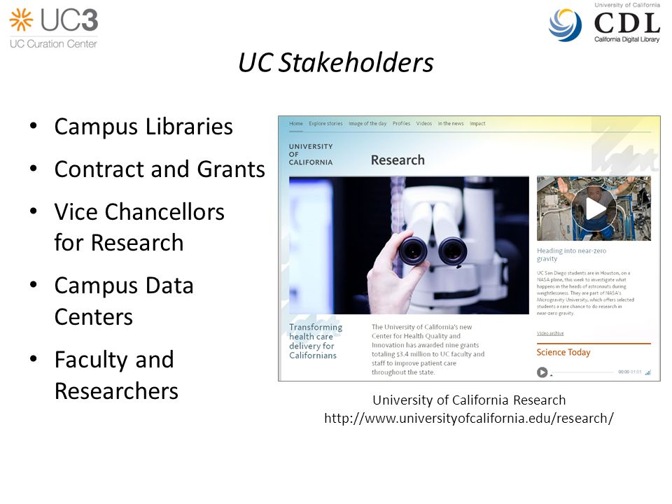 UC Stakeholders Campus Libraries Contract and Grants Vice Chancellors for Research Campus Data Centers Faculty and Researchers University of California Research http://www.universityofcalifornia.edu/research/