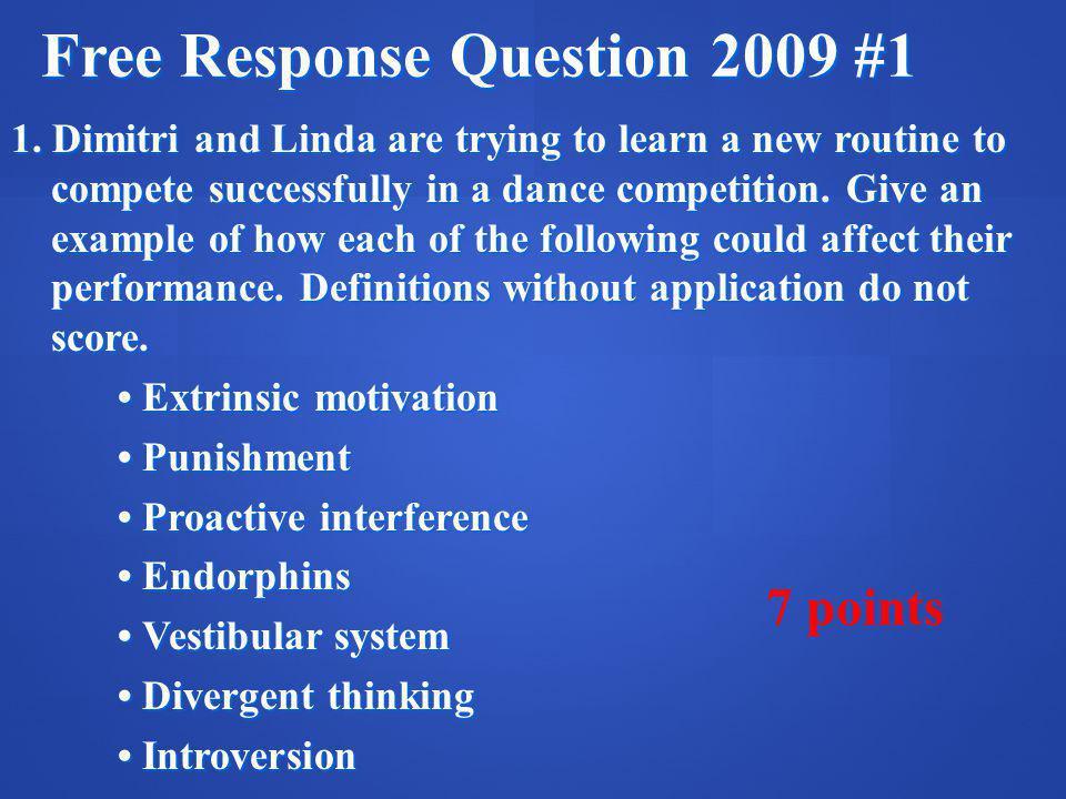 Free Response Question 2009 #1 1.
