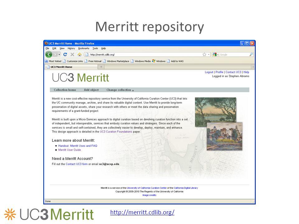 Merritt repository http://merritt.cdlib.org/