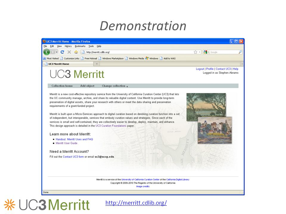 Demonstration http://merritt.cdlib.org/