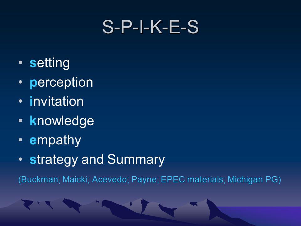 S-P-I-K-E-S setting perception invitation knowledge empathy strategy and Summary (Buckman; Maicki; Acevedo; Payne; EPEC materials; Michigan PG)