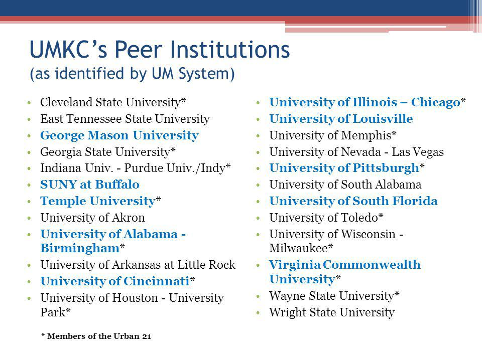 UMKCs Peer Institutions (as identified by UM System) Cleveland State University* East Tennessee State University George Mason University Georgia State