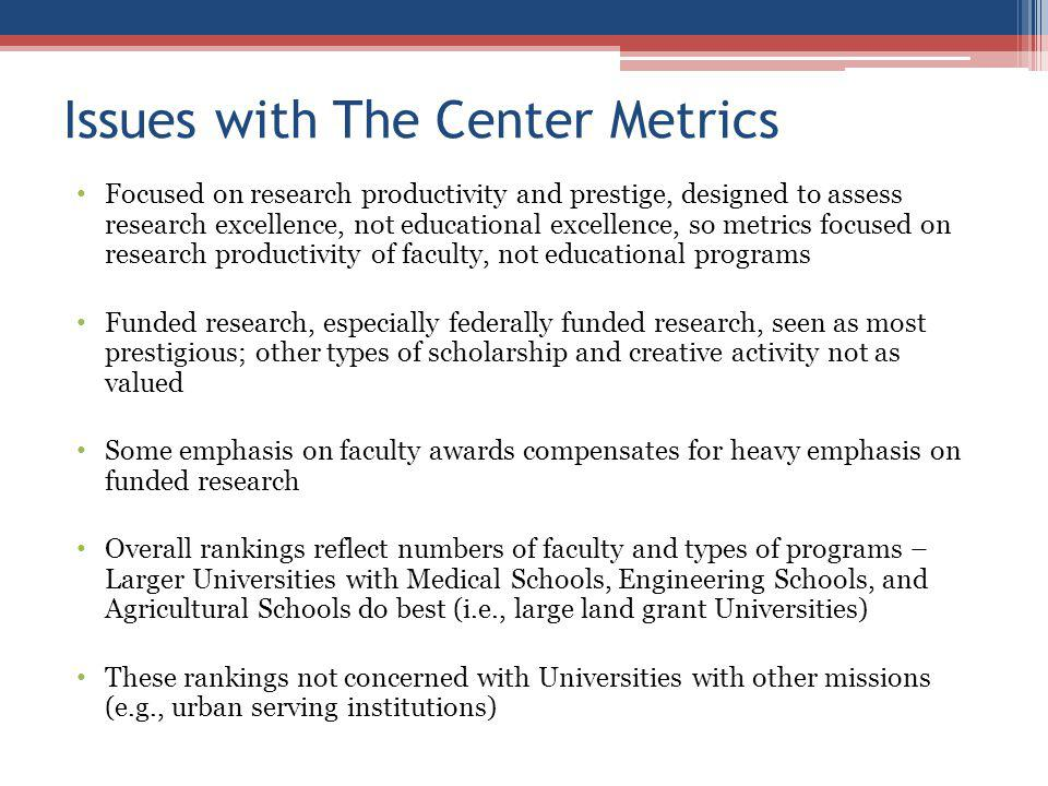 Issues with The Center Metrics Focused on research productivity and prestige, designed to assess research excellence, not educational excellence, so metrics focused on research productivity of faculty, not educational programs Funded research, especially federally funded research, seen as most prestigious; other types of scholarship and creative activity not as valued Some emphasis on faculty awards compensates for heavy emphasis on funded research Overall rankings reflect numbers of faculty and types of programs – Larger Universities with Medical Schools, Engineering Schools, and Agricultural Schools do best (i.e., large land grant Universities) These rankings not concerned with Universities with other missions (e.g., urban serving institutions)