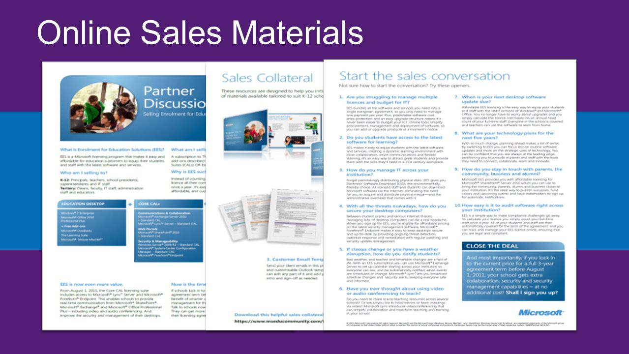 Online Sales Materials