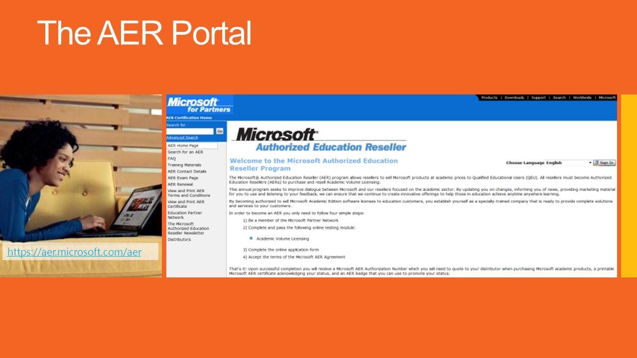 The AER Portal https://aer.microsoft.com/aer