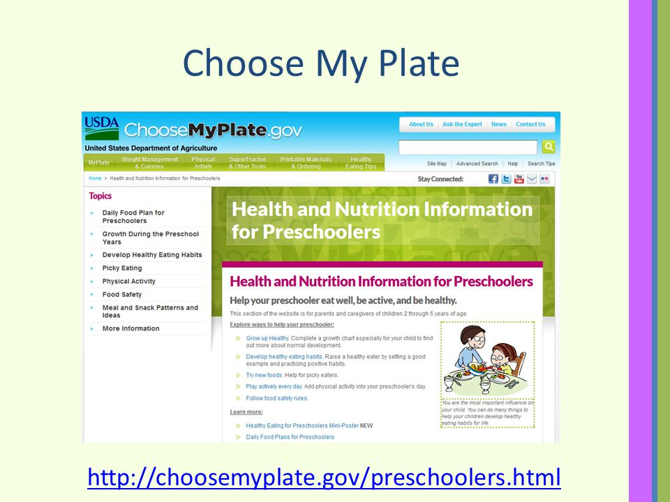 Choose My Plate http://choosemyplate.gov/preschoolers.html