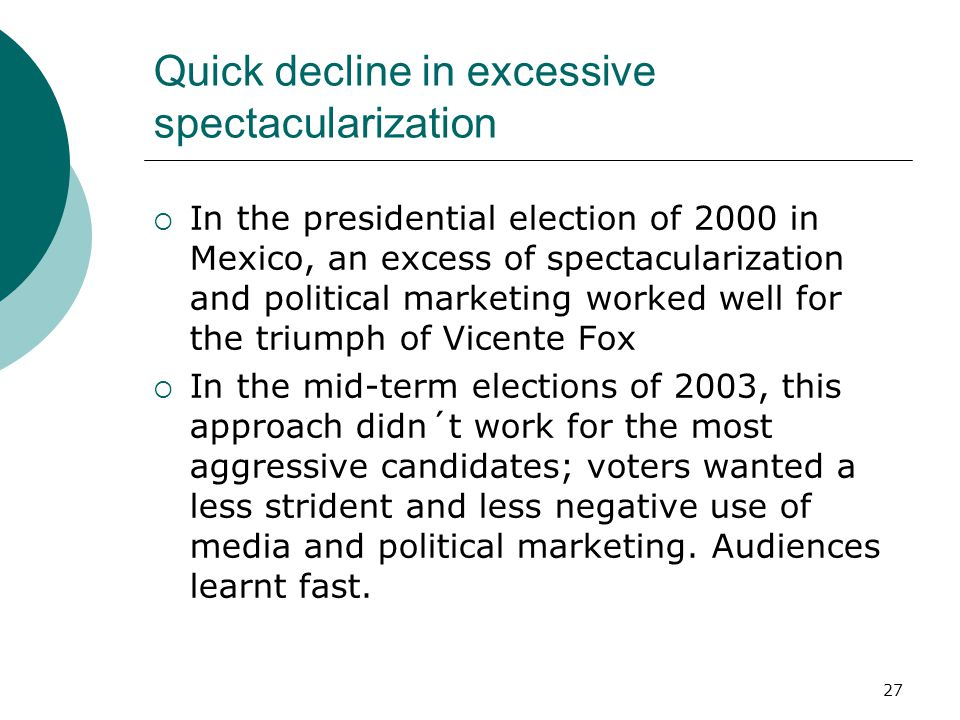 27 Quick decline in excessive spectacularization In the presidential election of 2000 in Mexico, an excess of spectacularization and political marketi
