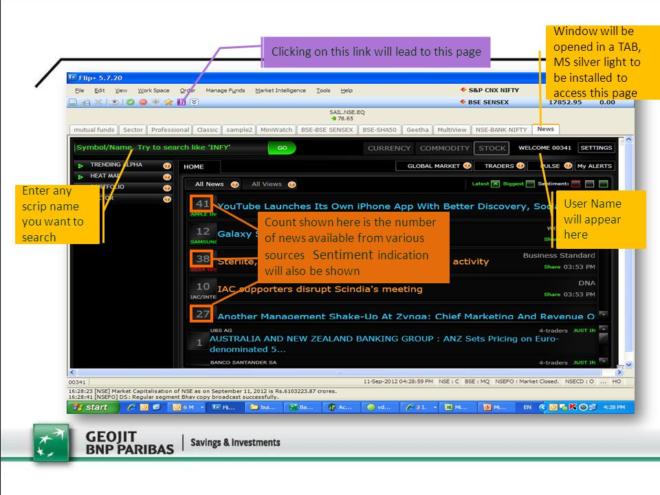 Count shown here is the number of news available from various sources Sentiment indication will also be shown Enter any scrip name you want to search Clicking on this link will lead to this page Window will be opened in a TAB, MS silver light to be installed to access this page User Name will appear here
