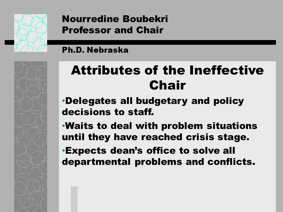 Nourredine Boubekri Professor and Chair Ph.D. Nebraska Attributes of the Ineffective Chair Delegates all budgetary and policy decisions to staff. Wait
