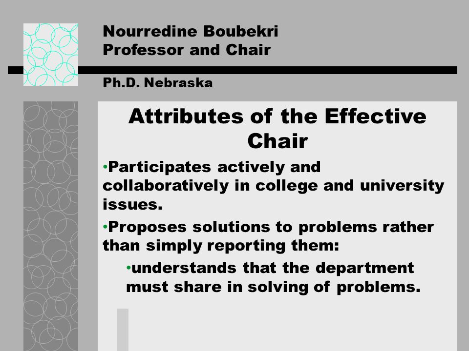 Nourredine Boubekri Deans Expectations of Department Chairs and Heads Leader/Liaison.
