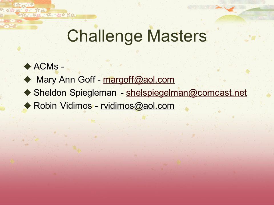 Challenge Masters ACMs - Mary Ann Goff - margoff@aol.commargoff@aol.com Sheldon Spiegleman - shelspiegelman@comcast.netshelspiegelman@comcast.net Robin Vidimos - rvidimos@aol.com