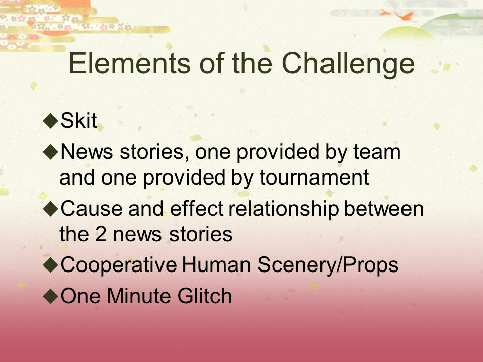 SKIT Skit must include relationship between the 2 news stories Total of 5 minutes prep time 4minutes planning 1 minute to incorporate OMG 5 minutes to perform skit integrating 4 challenge elements
