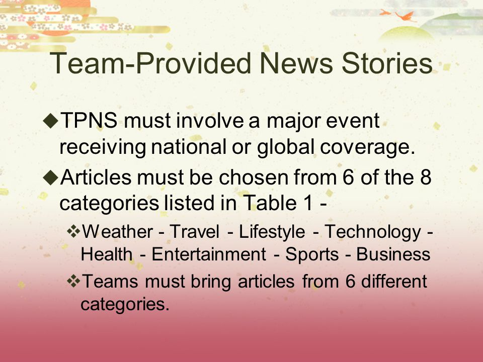 Team Provided News Stories The TPNS must not have been published more than 7 days prior to the tournament.