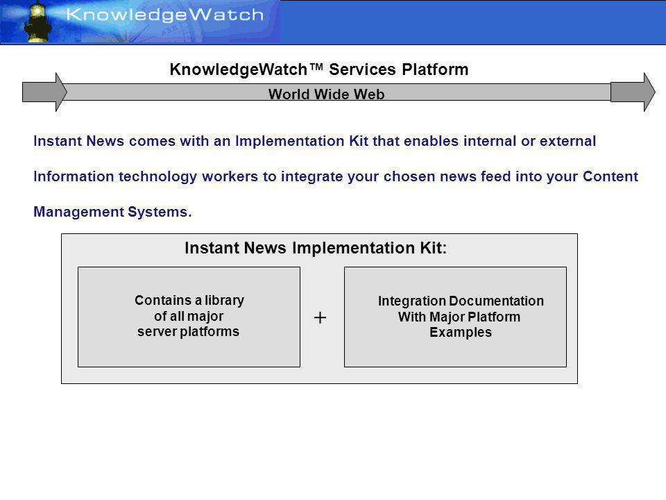 Open Standards KnowledgeWatch Services Platform World Wide Web Instant News service employs proprietary technology based on the latest information format standards and Web Services, so that it integrates easily and at low cost into existing enterprise intranet / extranet / or public Web sites.
