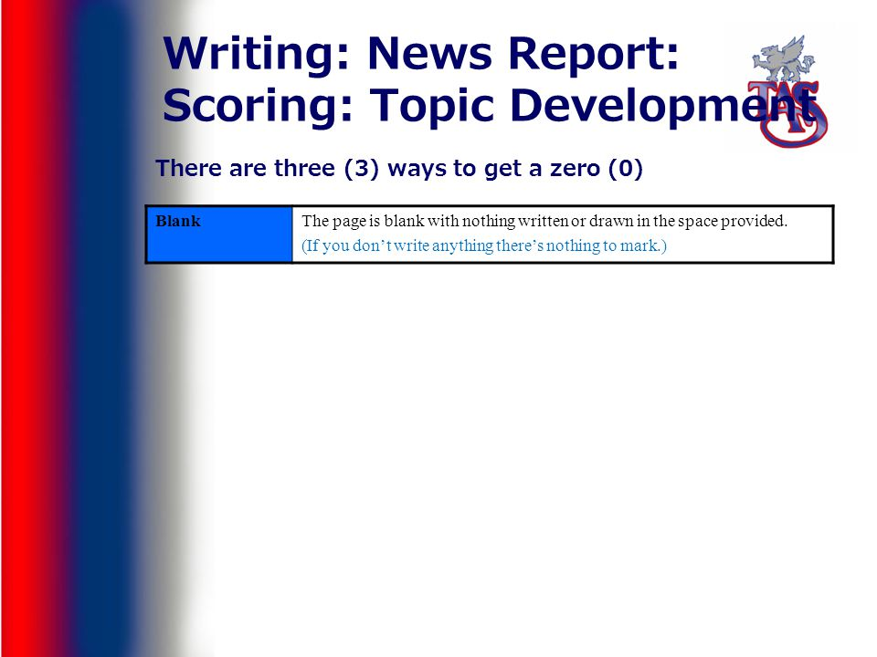 Writing: News Report: Scoring: Topic Development BlankThe page is blank with nothing written or drawn in the space provided. (If you dont write anythi