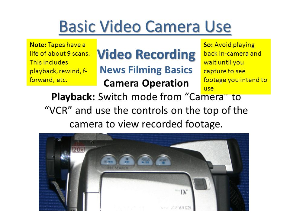 Basic Video Camera Use Video Recording News Filming Basics Camera Operation Playback: Switch mode from Camera to VCR and use the controls on the top of the camera to view recorded footage.