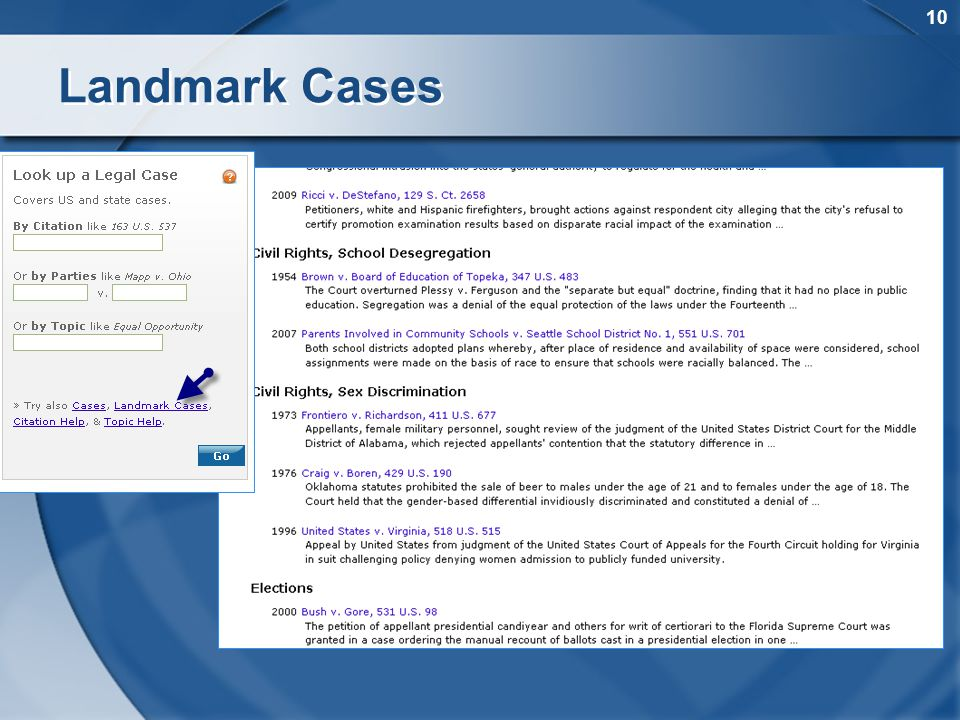 10 Landmark Cases