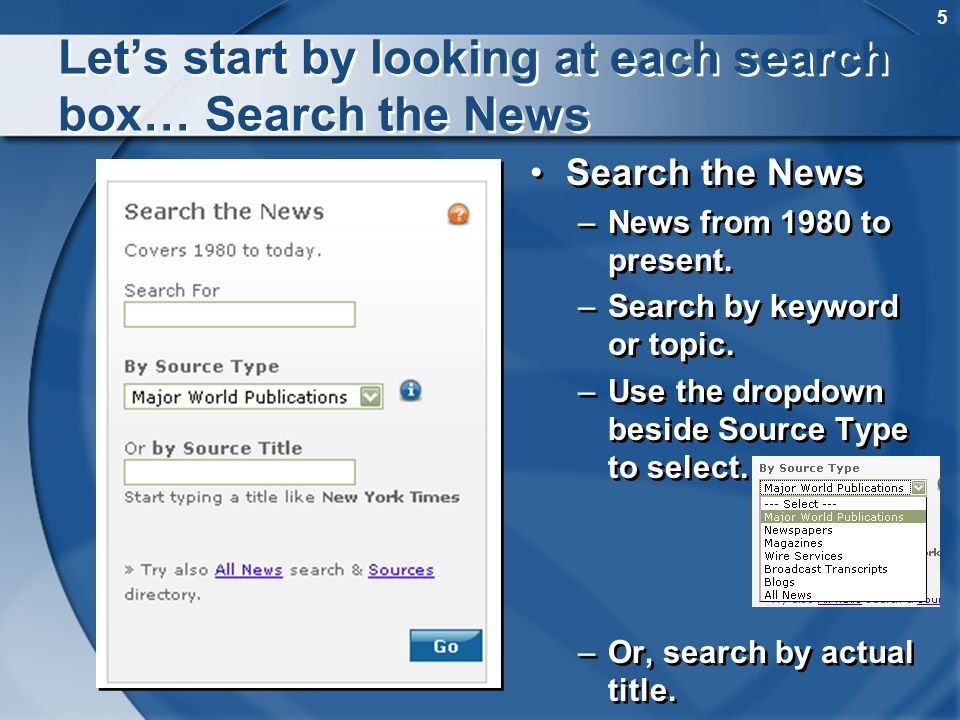 5 Lets start by looking at each search box… Search the News Search the News –News from 1980 to present. –Search by keyword or topic. –Use the dropdown