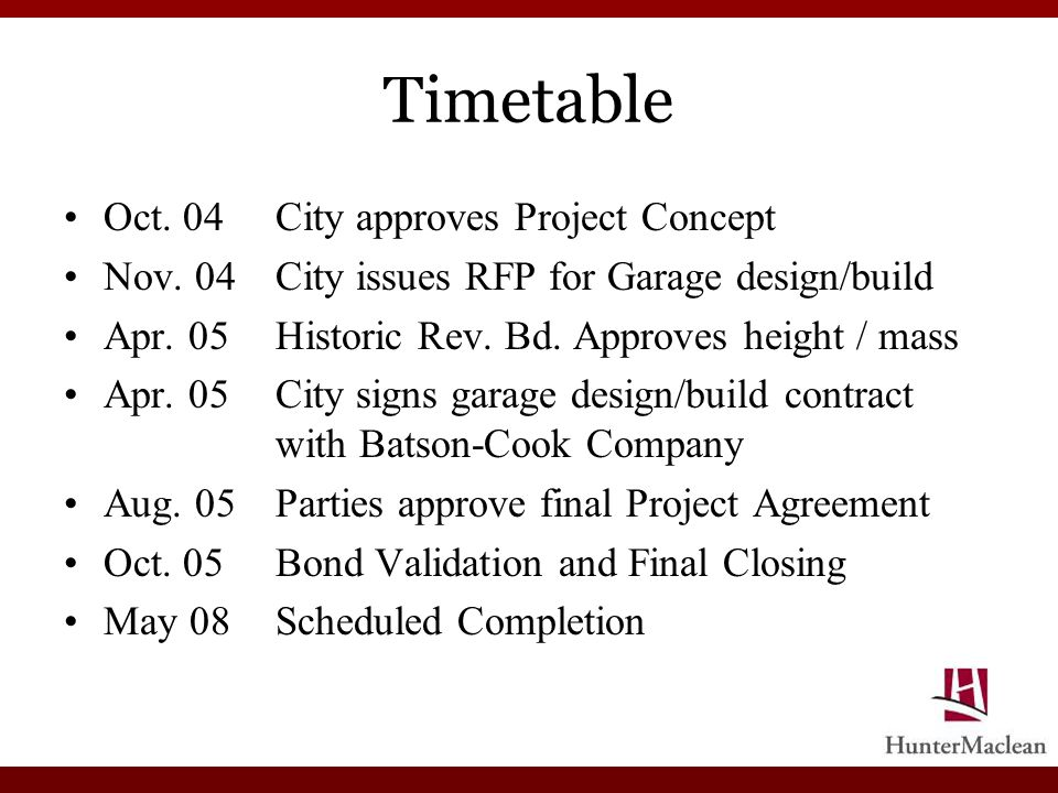 Timetable Oct. 04City approves Project Concept Nov. 04City issues RFP for Garage design/build Apr. 05Historic Rev. Bd. Approves height / mass Apr. 05C