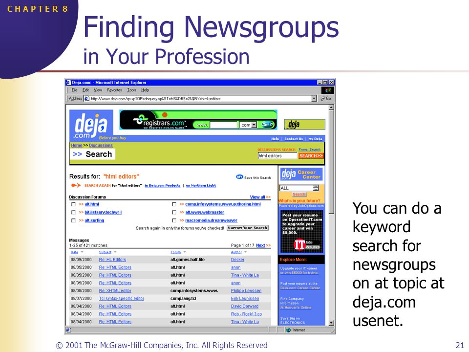 © 2001 The McGraw-Hill Companies, Inc. All Rights Reserved21 C H A P T E R 8 Finding Newsgroups in Your Profession You can do a keyword search for new