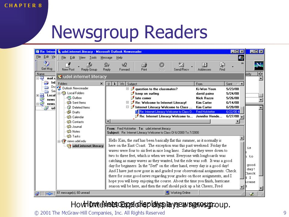 © 2001 The McGraw-Hill Companies, Inc. All Rights Reserved9 C H A P T E R 8 How Netscape displays a newsgroup. Newsgroup Readers How Internet Explorer