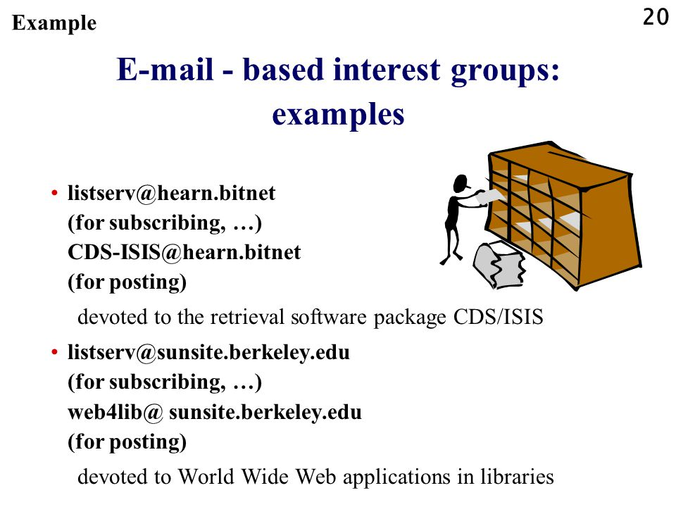 20 E-mail - based interest groups: examples listserv@hearn.bitnet (for subscribing, …) CDS-ISIS@hearn.bitnet (for posting) devoted to the retrieval software package CDS/ISIS listserv@sunsite.berkeley.edu (for subscribing, …) web4lib@ sunsite.berkeley.edu (for posting) devoted to World Wide Web applications in libraries Example