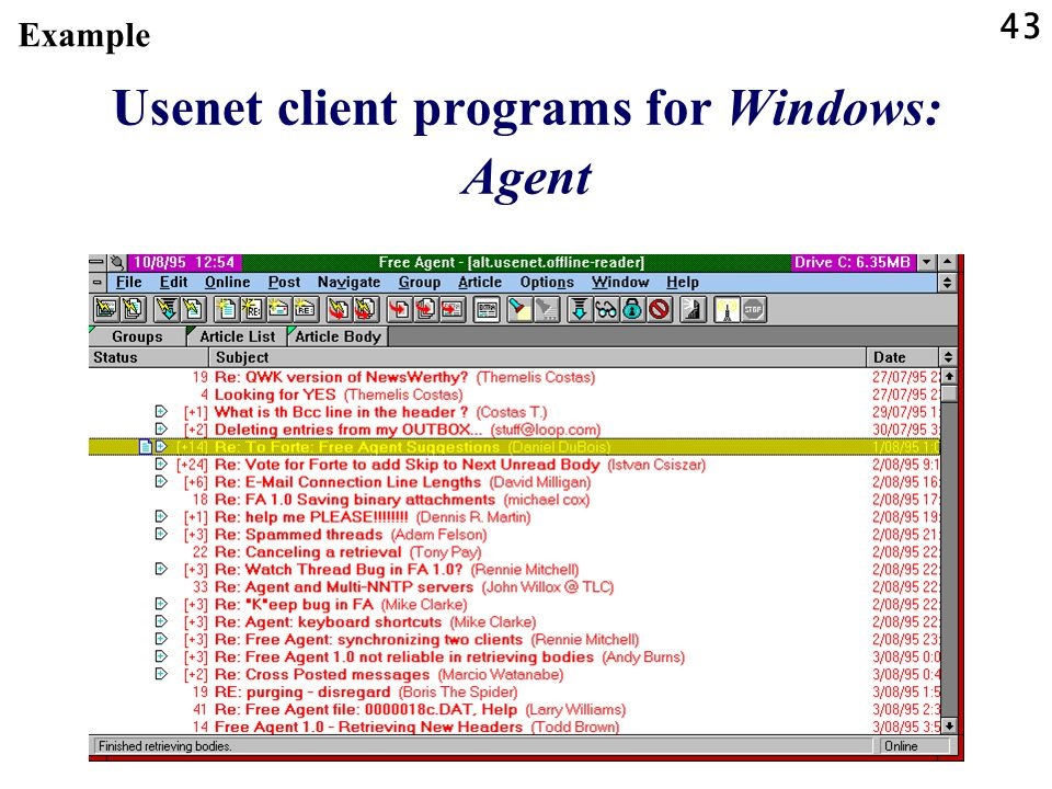43 Usenet client programs for Windows: Agent Example